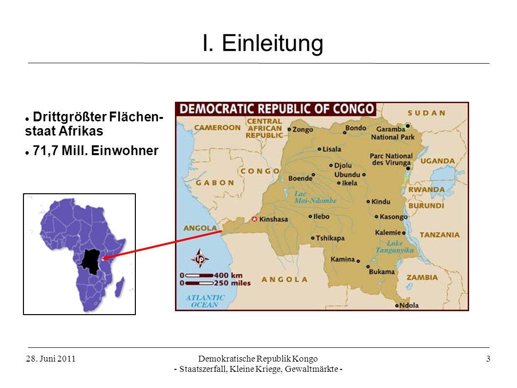 I. Einleitung Drittgrößter Flächen- staat Afrikas 71,7 Mill. Einwohner