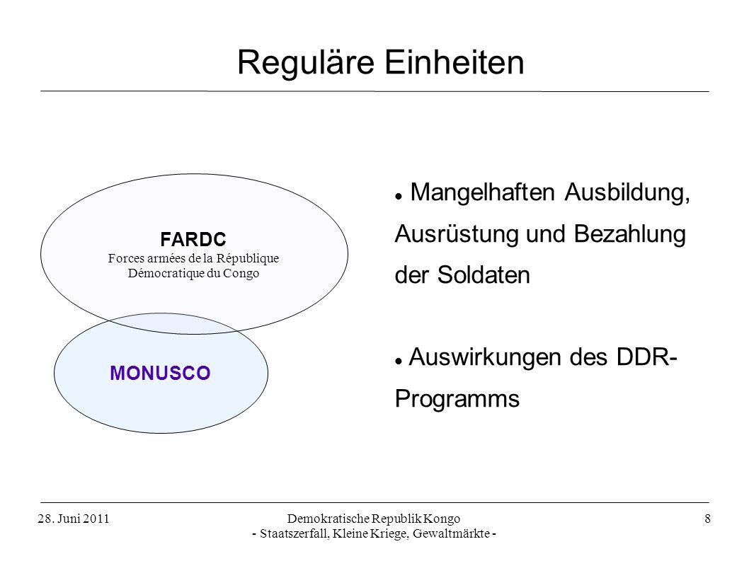 Reguläre Einheiten Mangelhaften Ausbildung, Ausrüstung und Bezahlung der Soldaten. Auswirkungen des DDR- Programms.