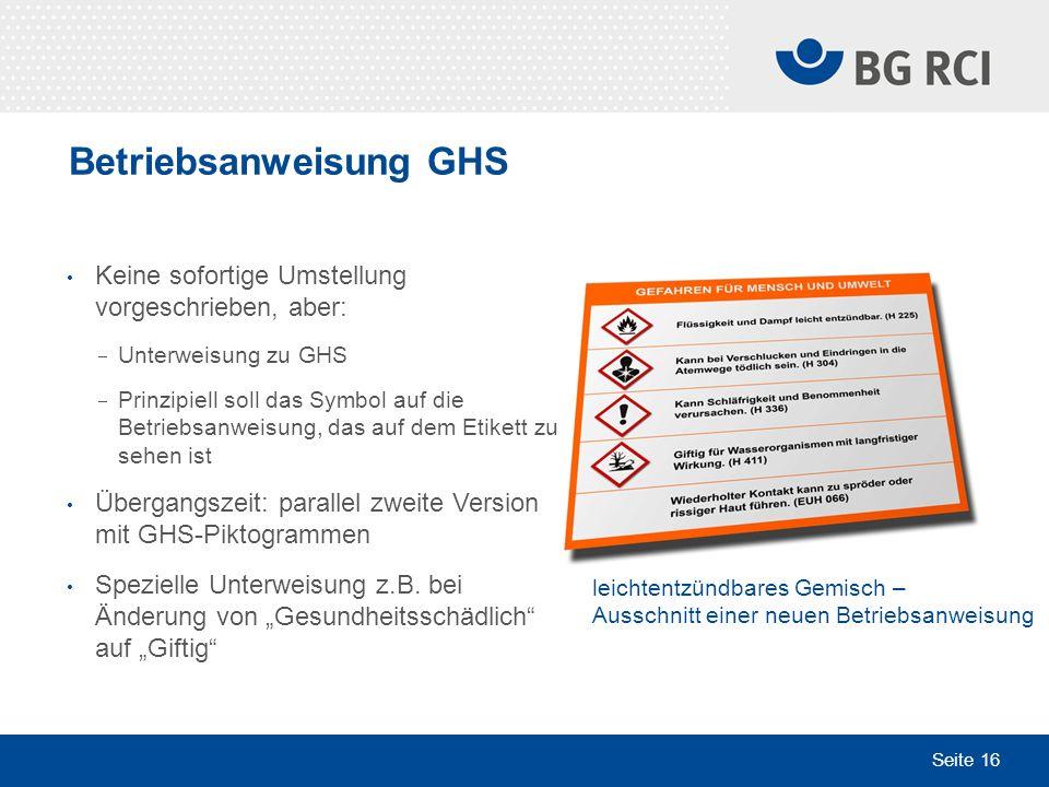 Betriebsanweisung GHS
