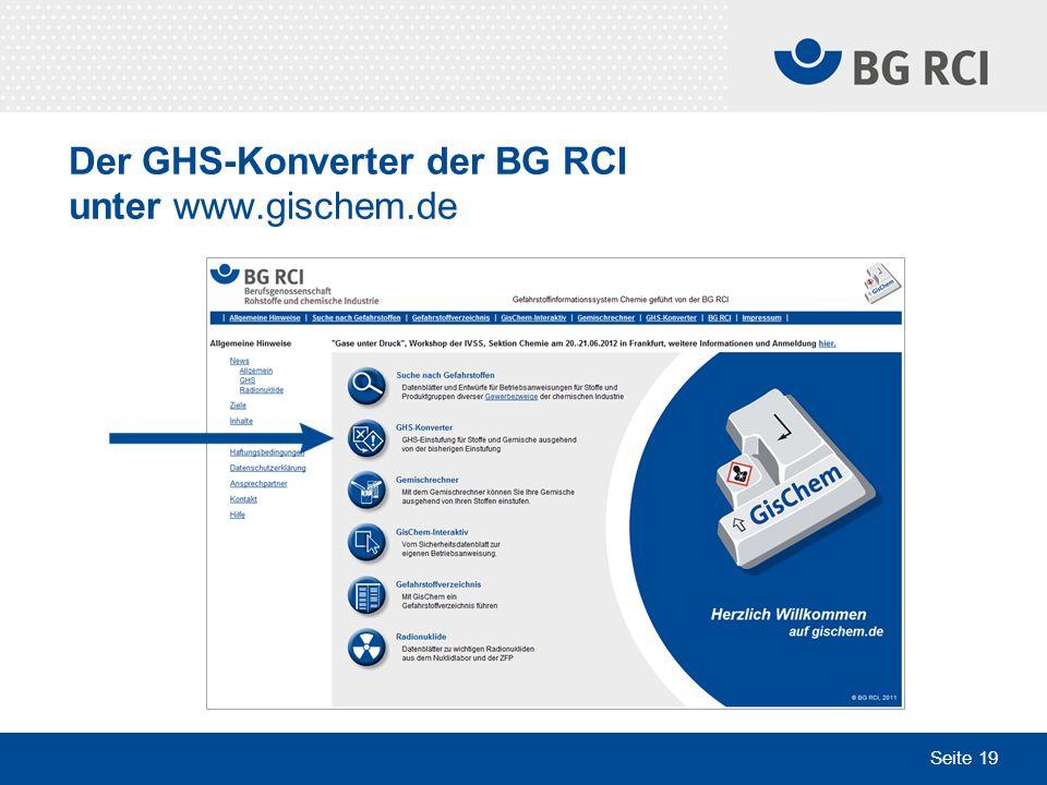 Der GHS-Konverter der BG RCI unter www.gischem.de