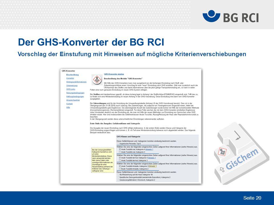 Der GHS-Konverter der BG RCI