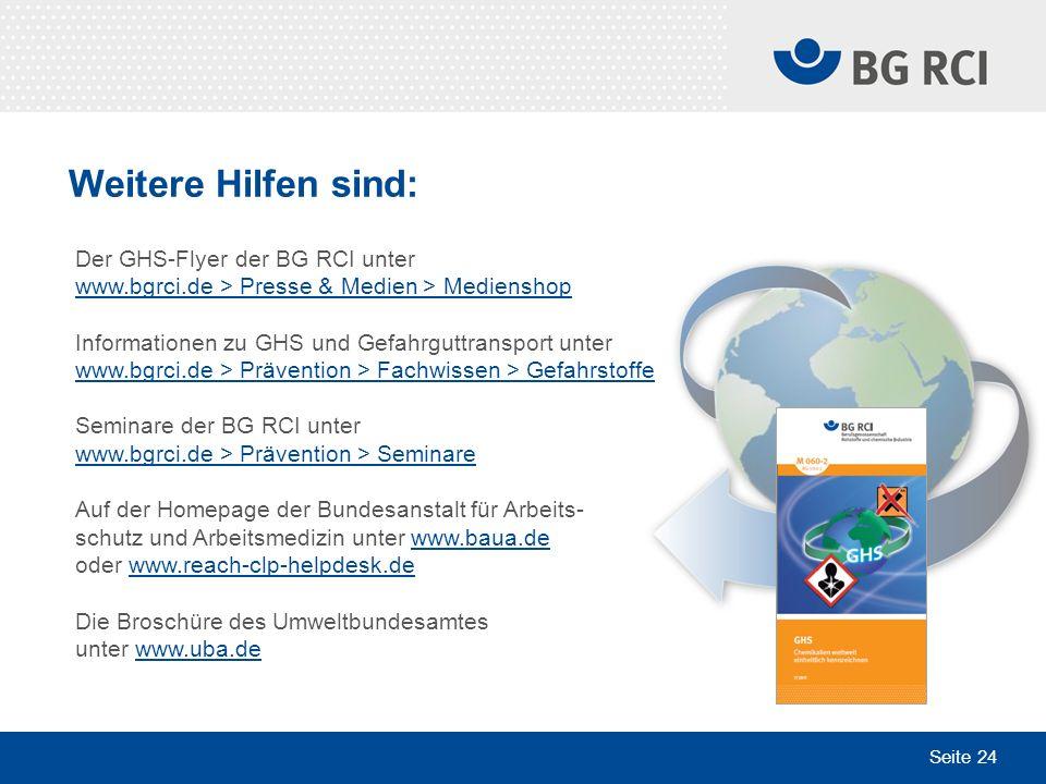 Weitere Hilfen sind: Der GHS-Flyer der BG RCI unter