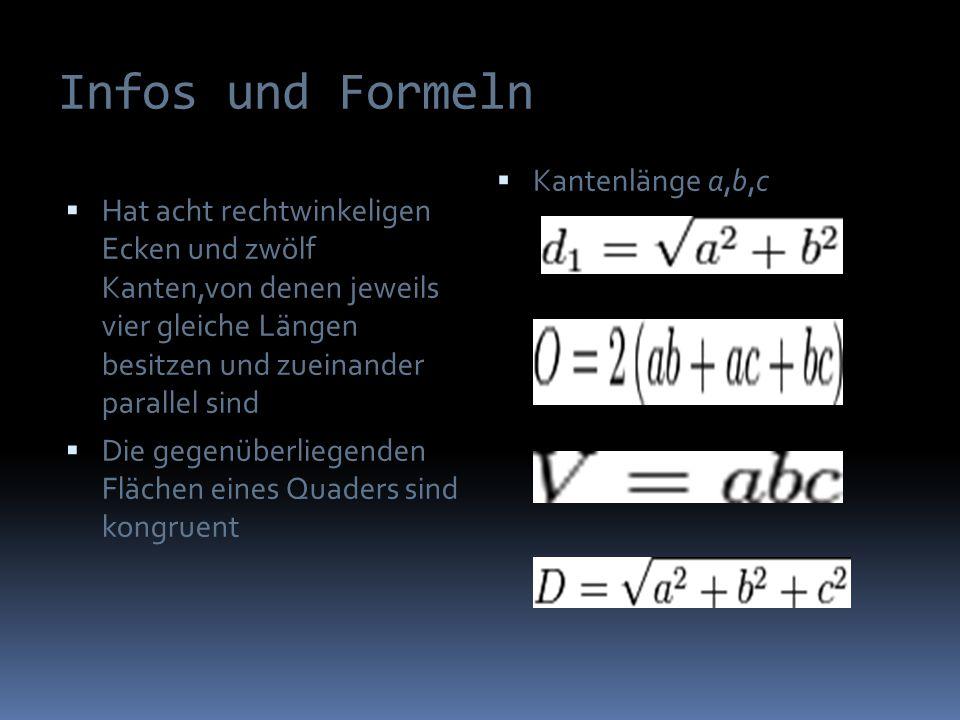 Infos und Formeln Kantenlänge a,b,c