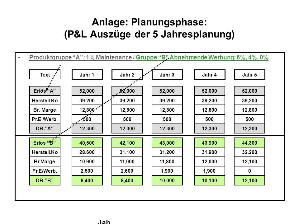 Anlage: Planungsphase: (P&L Auszüge der 5 Jahresplanung)