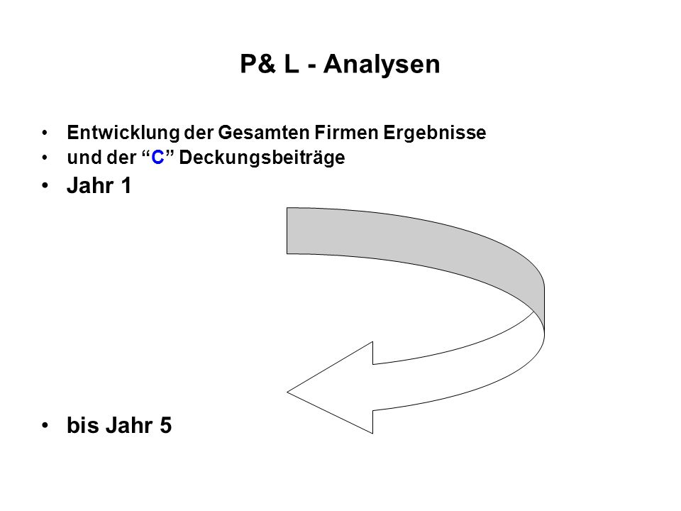 P& L - Analysen Jahr 1 bis Jahr 5