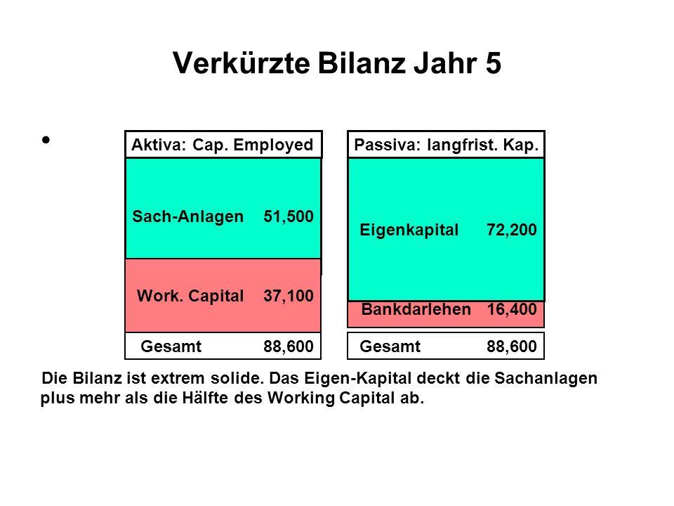 Verkürzte Bilanz Jahr 5 . Die Bilanz ist extrem solide. Das Eigen-Kapital deckt die Sachanlagen.