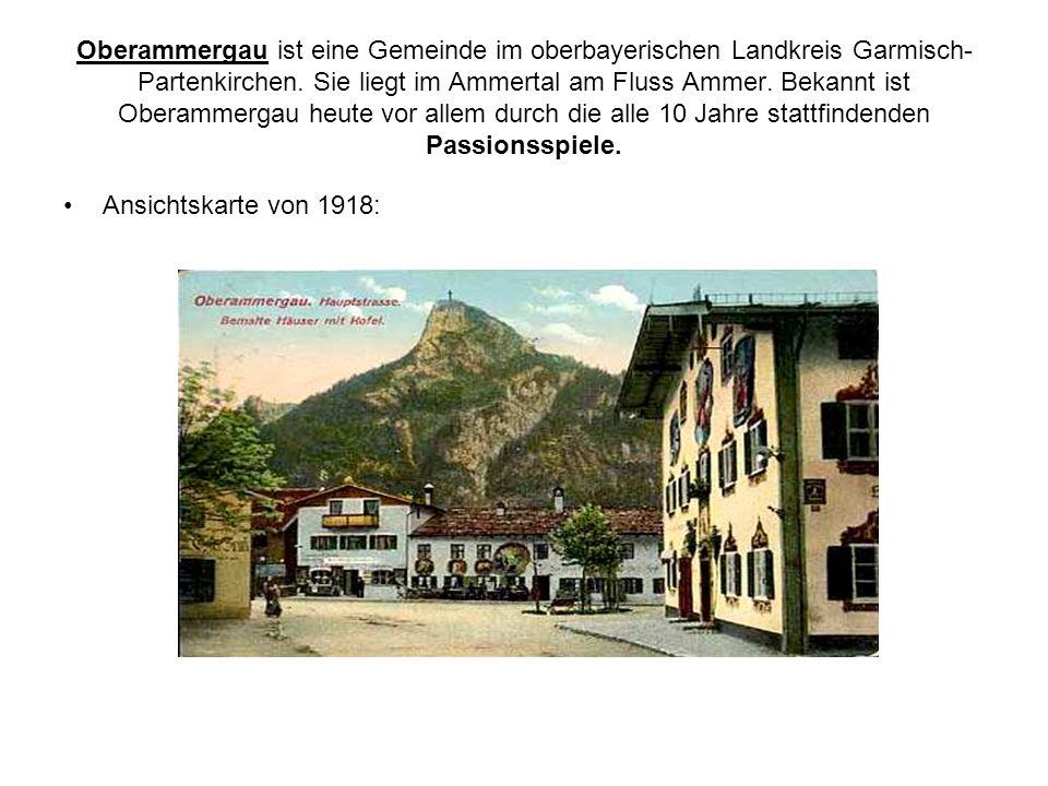 Oberammergau ist eine Gemeinde im oberbayerischen Landkreis Garmisch-Partenkirchen. Sie liegt im Ammertal am Fluss Ammer. Bekannt ist Oberammergau heute vor allem durch die alle 10 Jahre stattfindenden Passionsspiele.