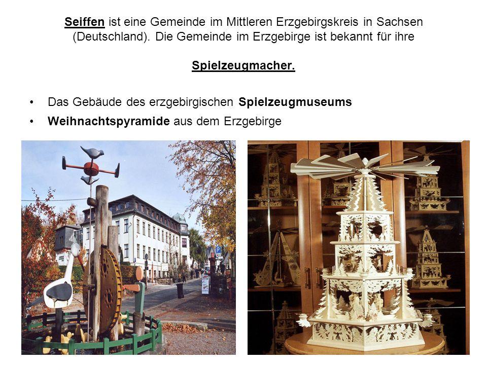 Seiffen ist eine Gemeinde im Mittleren Erzgebirgskreis in Sachsen (Deutschland). Die Gemeinde im Erzgebirge ist bekannt für ihre Spielzeugmacher.