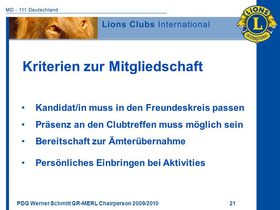 Kriterien zur Mitgliedschaft