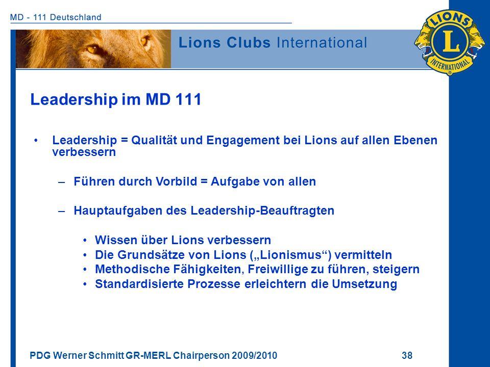 Leadership im MD 111 Leadership = Qualität und Engagement bei Lions auf allen Ebenen verbessern. Führen durch Vorbild = Aufgabe von allen.