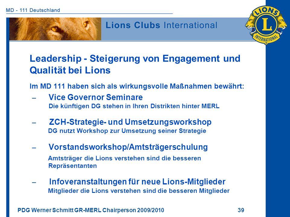 Leadership - Steigerung von Engagement und Qualität bei Lions