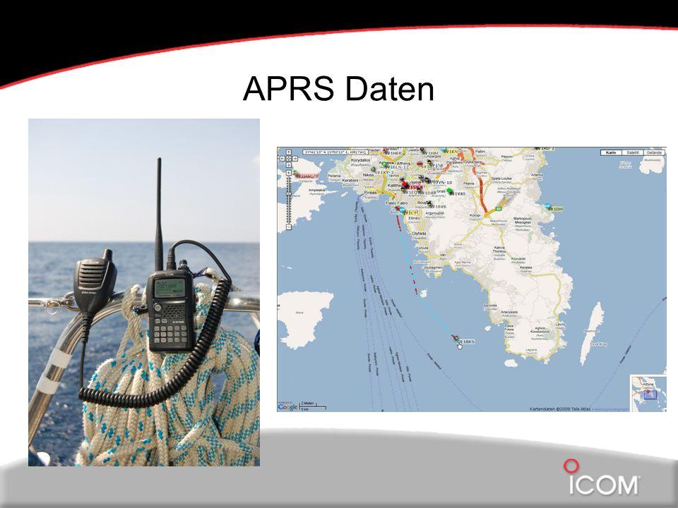 APRS Daten Links Funkg Schiff , rechts Greichenland Karte