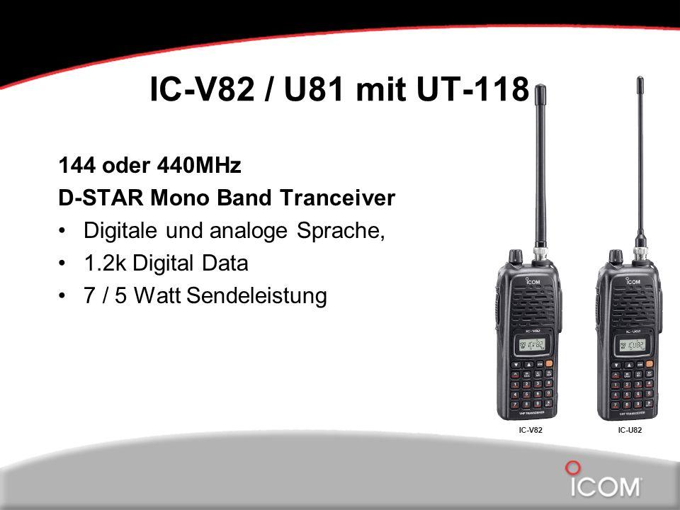 IC-V82 / U81 mit UT-118 144 oder 440MHz D-STAR Mono Band Tranceiver