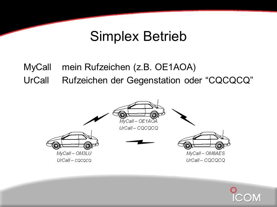 Simplex Betrieb MyCall mein Rufzeichen (z.B. OE1AOA) UrCall Rufzeichen der Gegenstation oder CQCQCQ