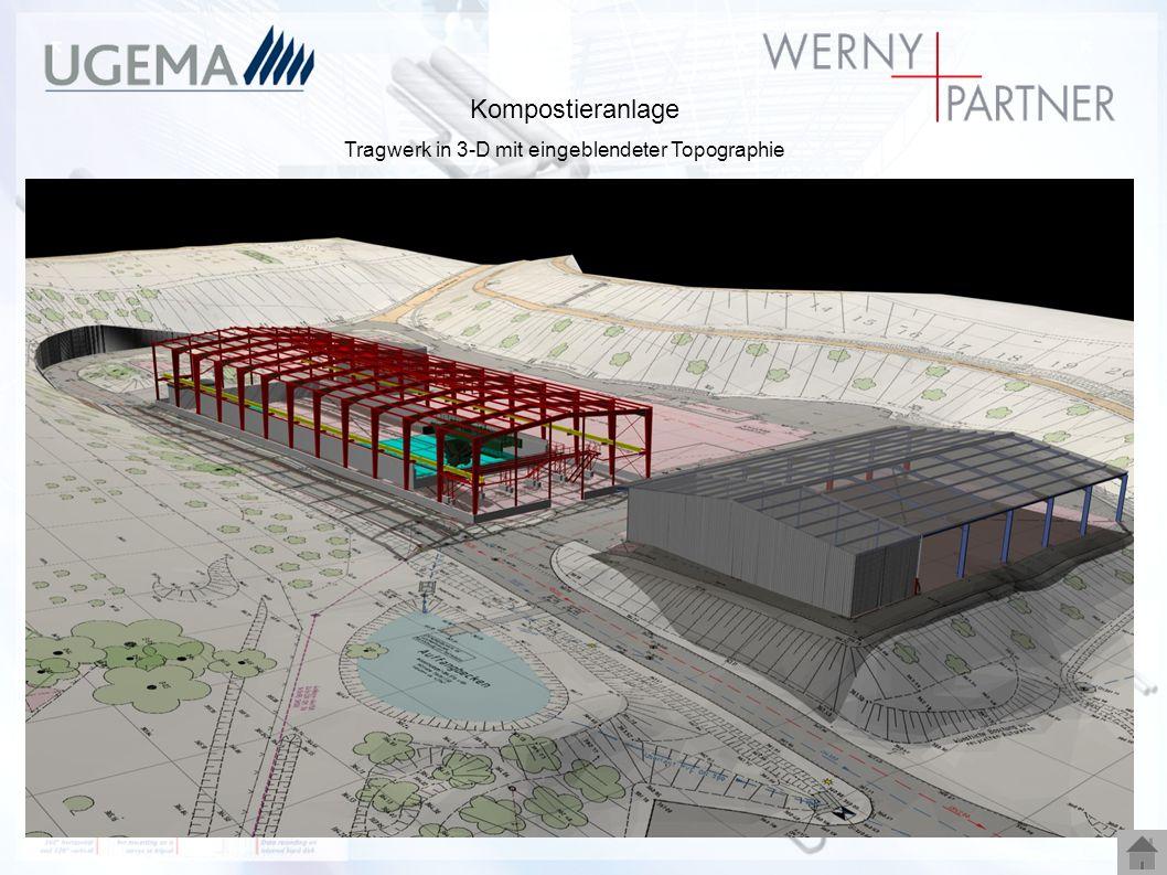 Kompostieranlage Tragwerk in 3-D mit eingeblendeter Topographie
