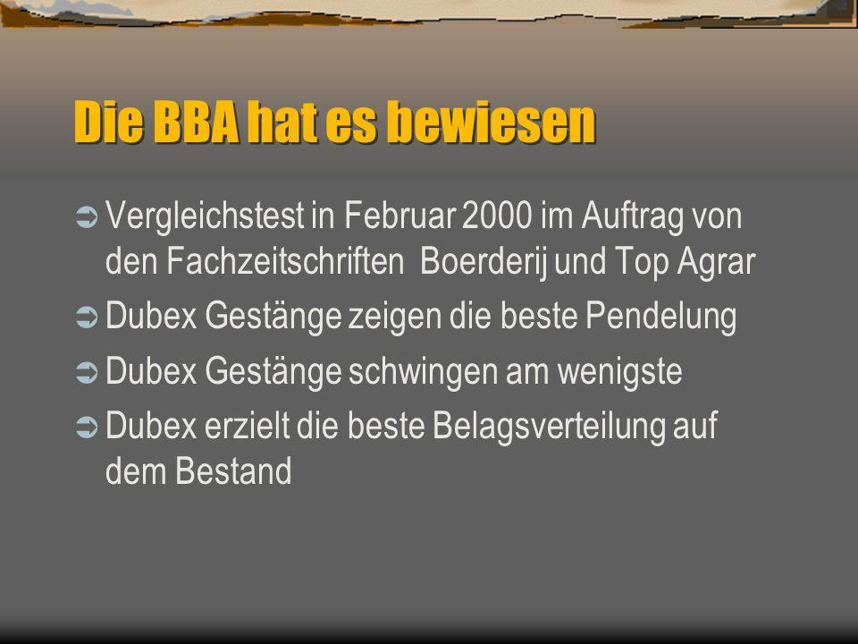 Die BBA hat es bewiesen Vergleichstest in Februar 2000 im Auftrag von den Fachzeitschriften Boerderij und Top Agrar.