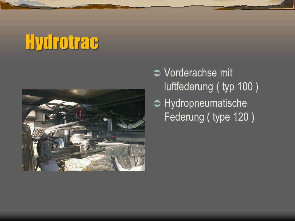 Hydrotrac Vorderachse mit luftfederung ( typ 100 )