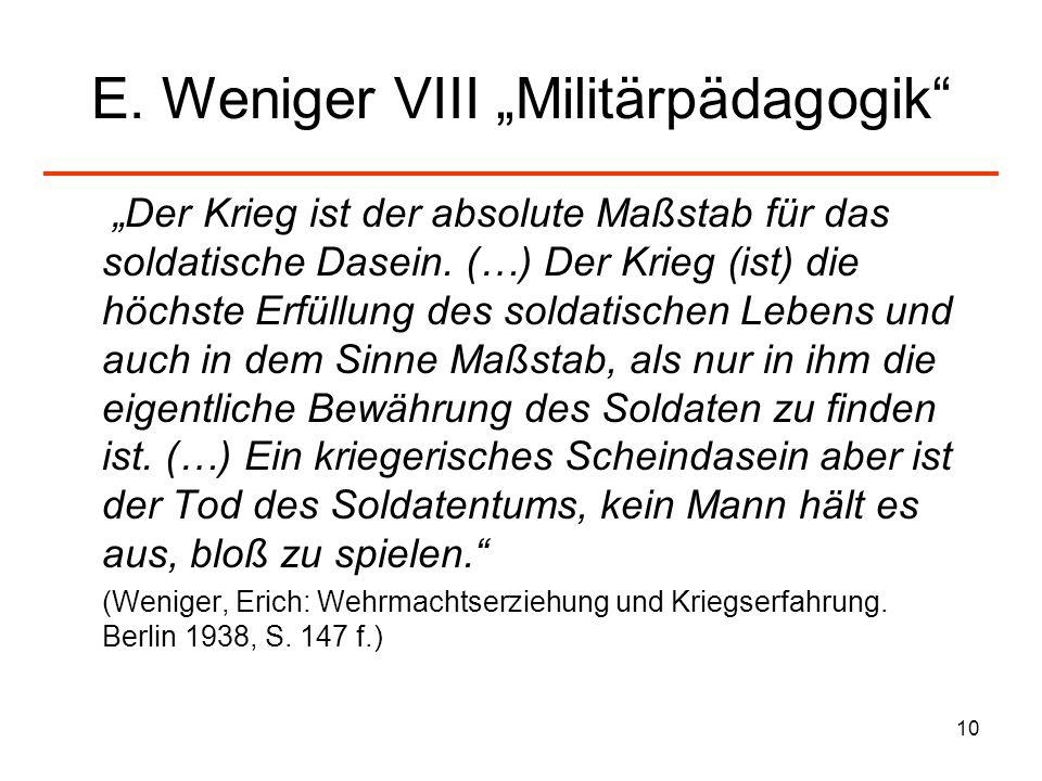 """E. Weniger VIII """"Militärpädagogik"""