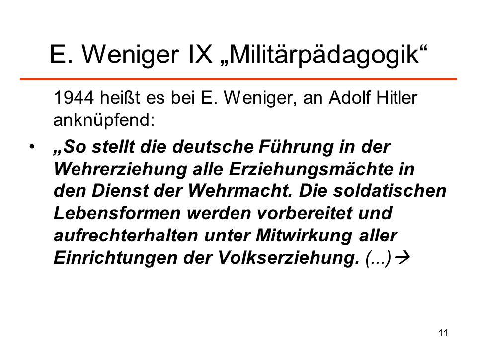"E. Weniger IX ""Militärpädagogik"
