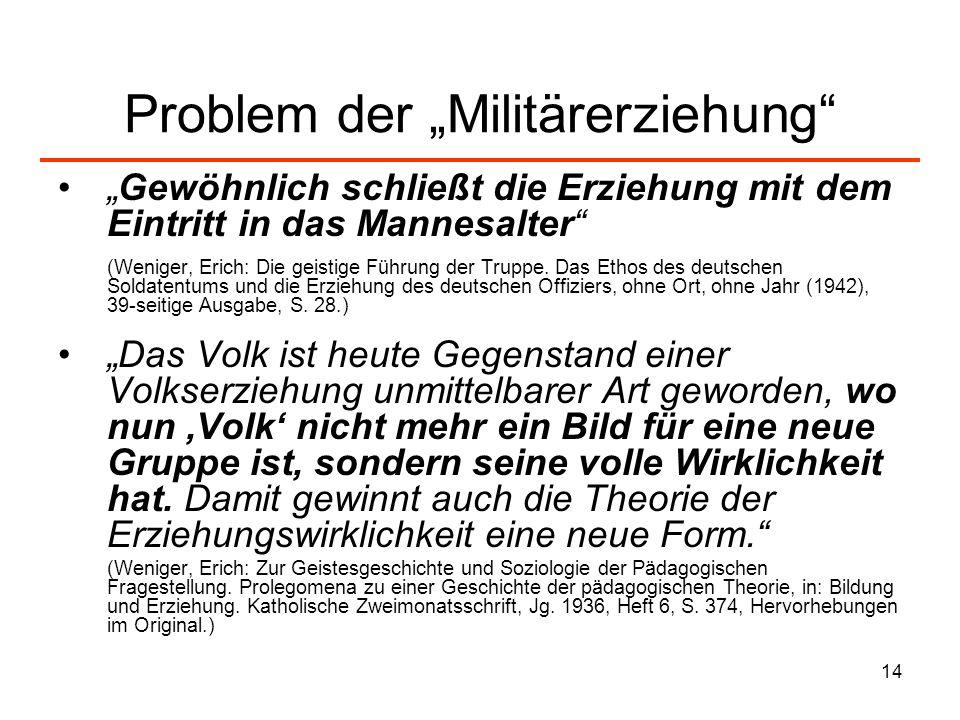 """Problem der """"Militärerziehung"""