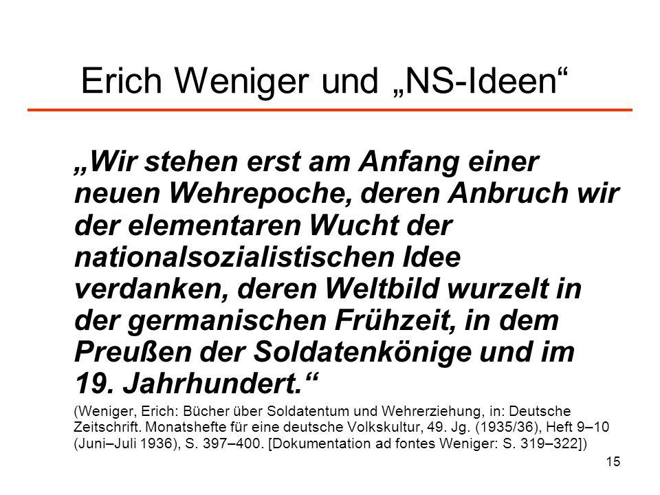 """Erich Weniger und """"NS-Ideen"""