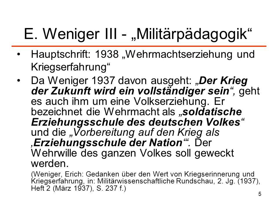 """E. Weniger III - """"Militärpädagogik"""