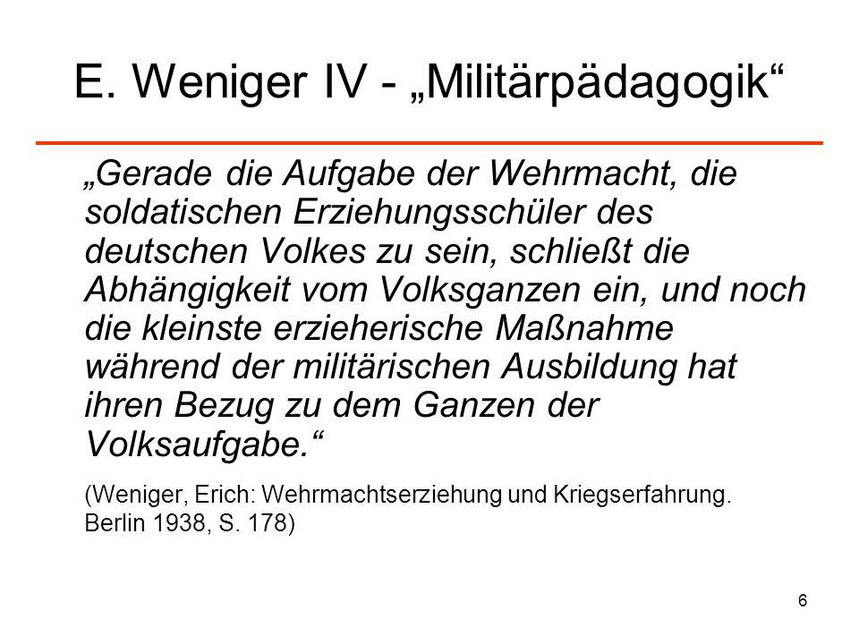 "E. Weniger IV - ""Militärpädagogik"