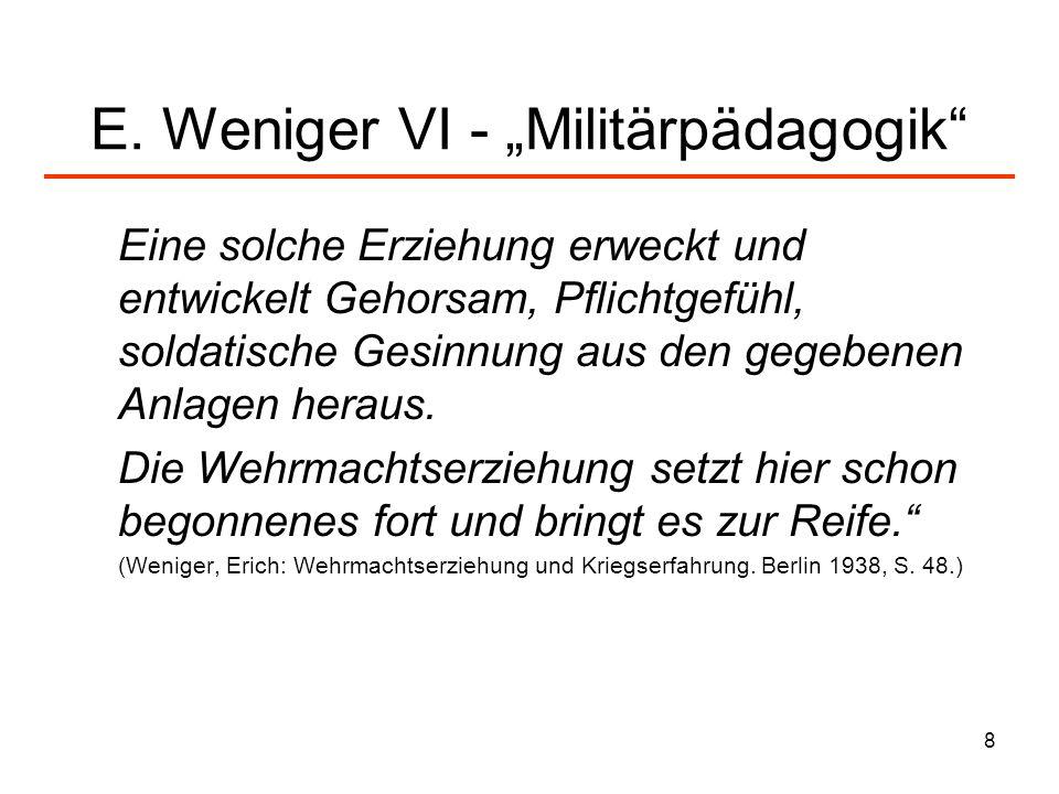 "E. Weniger VI - ""Militärpädagogik"