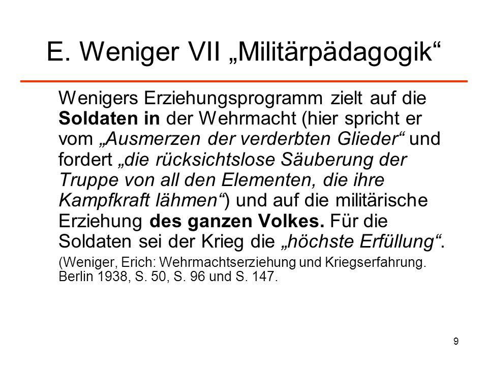 "E. Weniger VII ""Militärpädagogik"