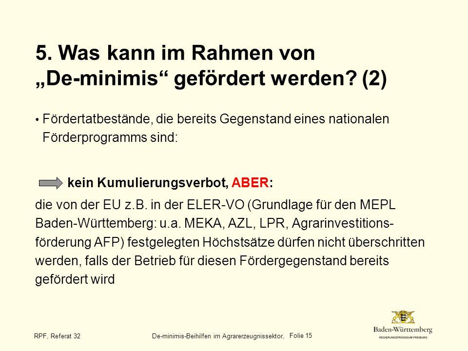"""5. Was kann im Rahmen von """"De-minimis gefördert werden (2)"""