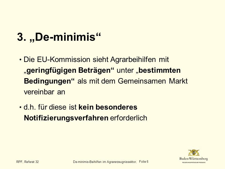 """Titel des Vortrags 3. """"De-minimis"""