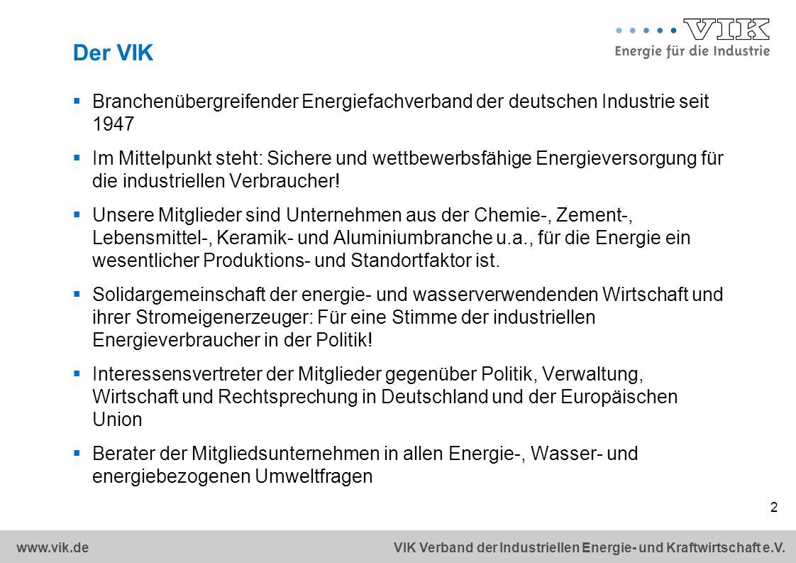 Der VIK Branchenübergreifender Energiefachverband der deutschen Industrie seit 1947.