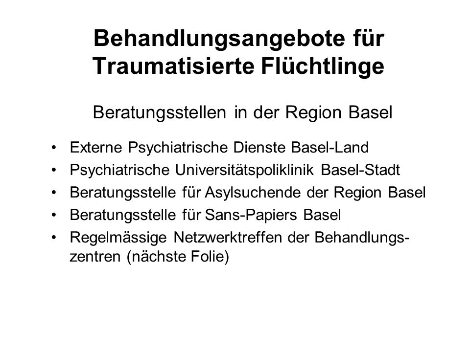 Behandlungsangebote für Traumatisierte Flüchtlinge