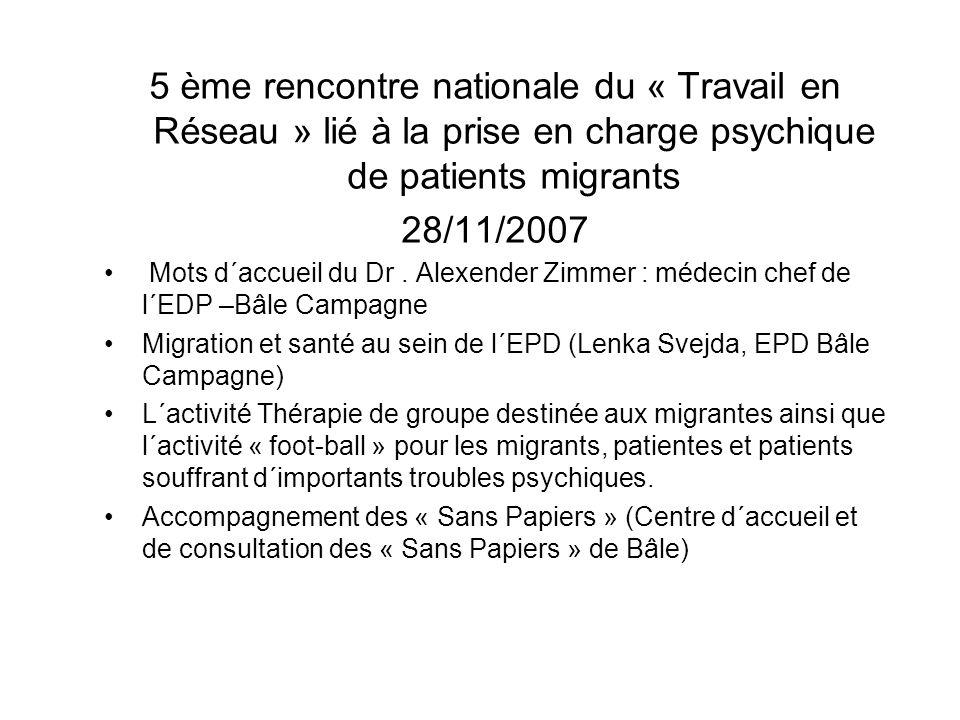 5 ème rencontre nationale du « Travail en Réseau » lié à la prise en charge psychique de patients migrants