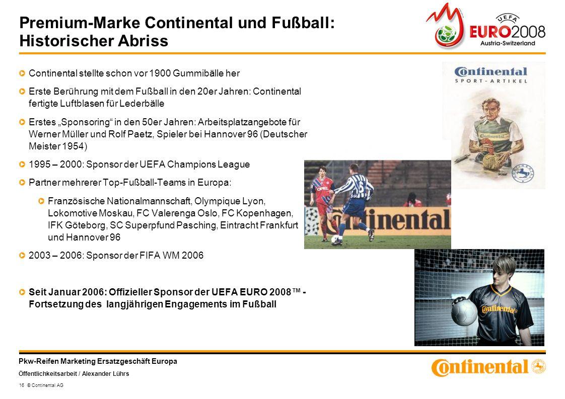 Premium-Marke Continental und Fußball: Historischer Abriss