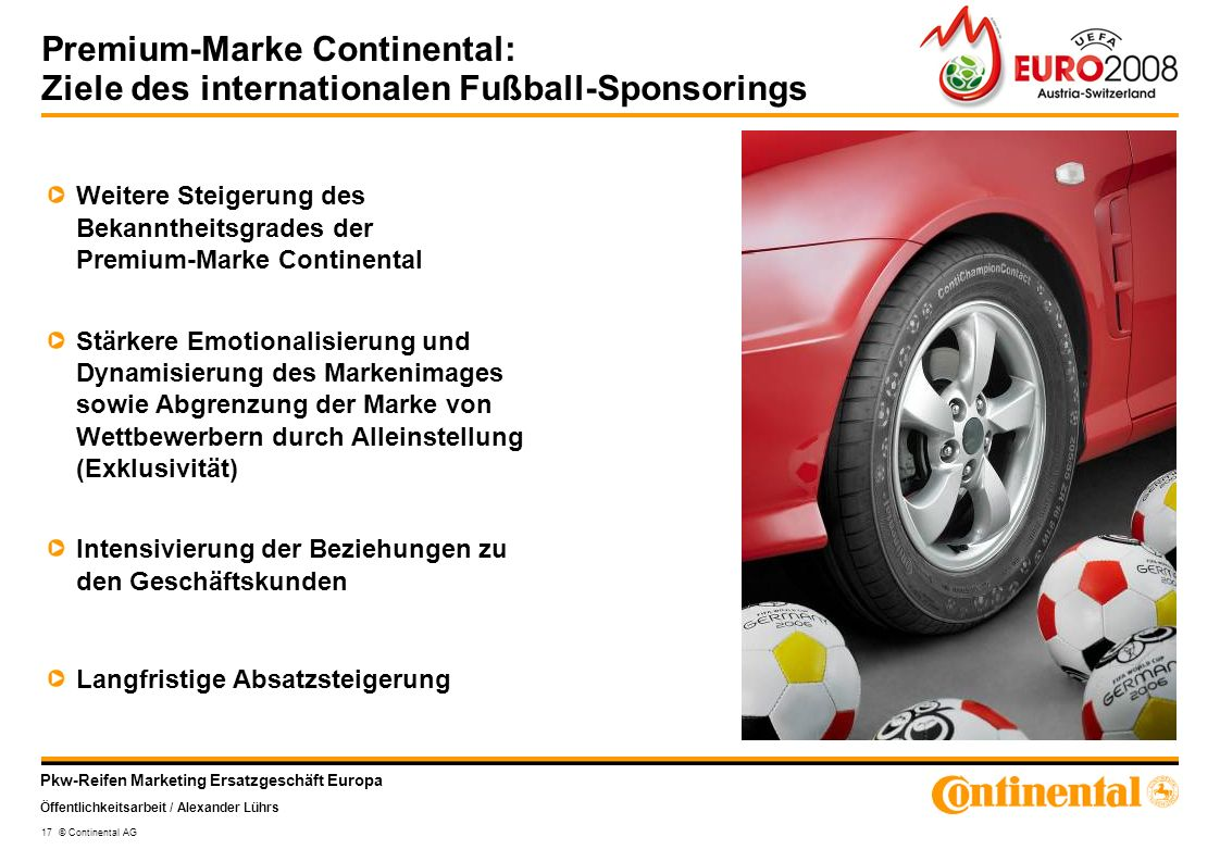 Premium-Marke Continental: Ziele des internationalen Fußball-Sponsorings