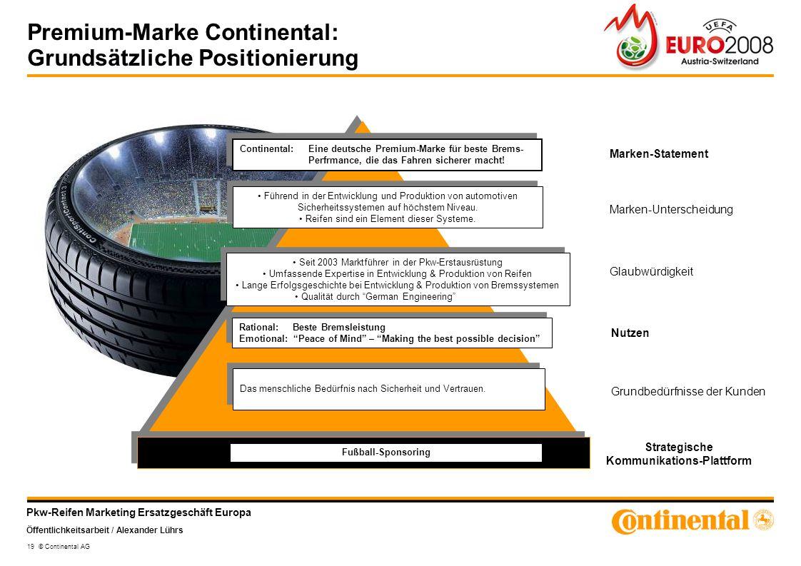 Premium-Marke Continental: Grundsätzliche Positionierung