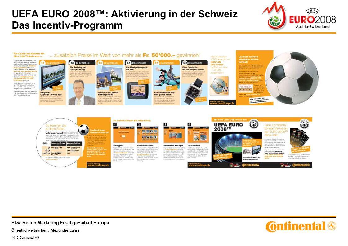 UEFA EURO 2008™: Aktivierung in der Schweiz Das Incentiv-Programm