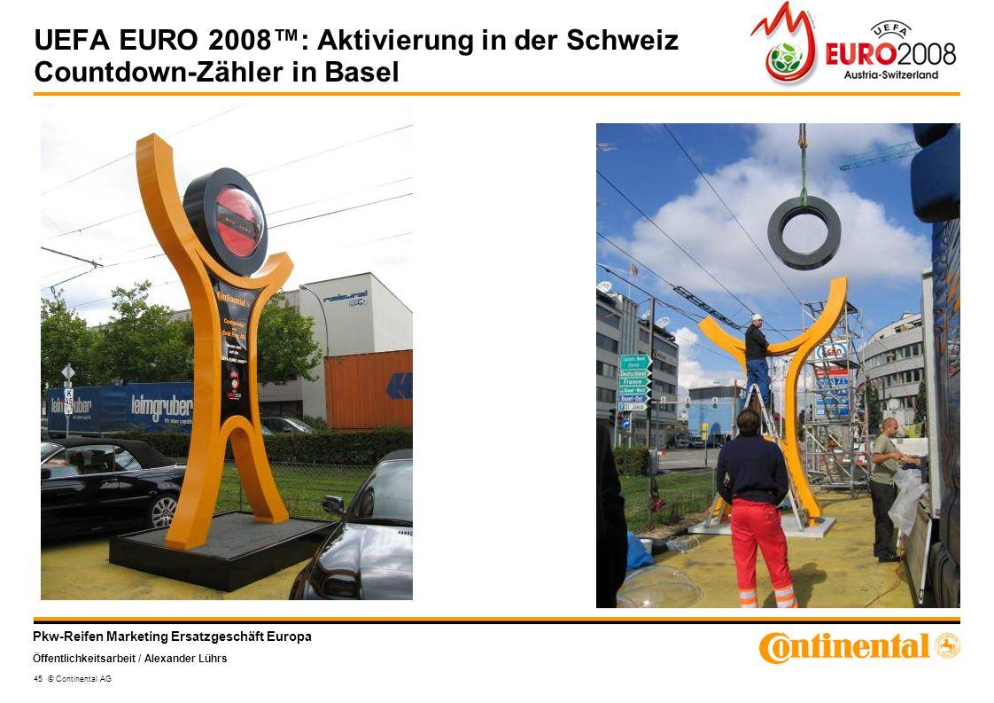 UEFA EURO 2008™: Aktivierung in der Schweiz Countdown-Zähler in Basel