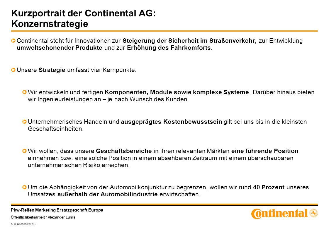 Kurzportrait der Continental AG: Konzernstrategie