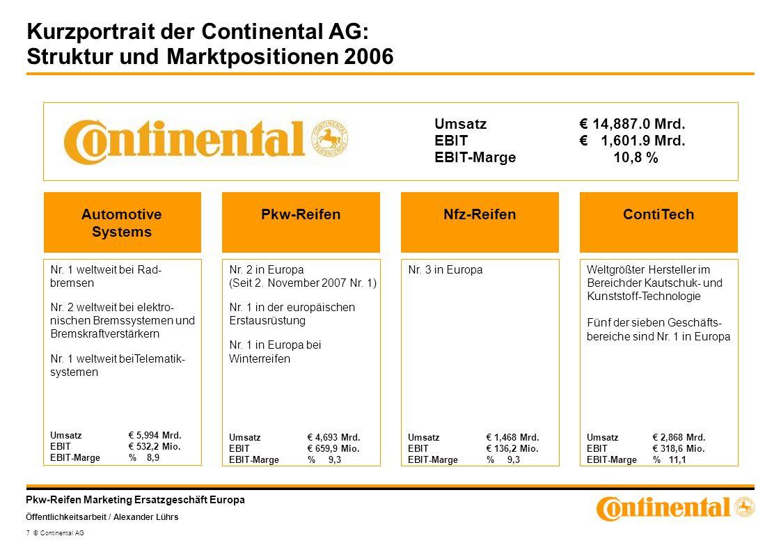 Kurzportrait der Continental AG: Struktur und Marktpositionen 2006