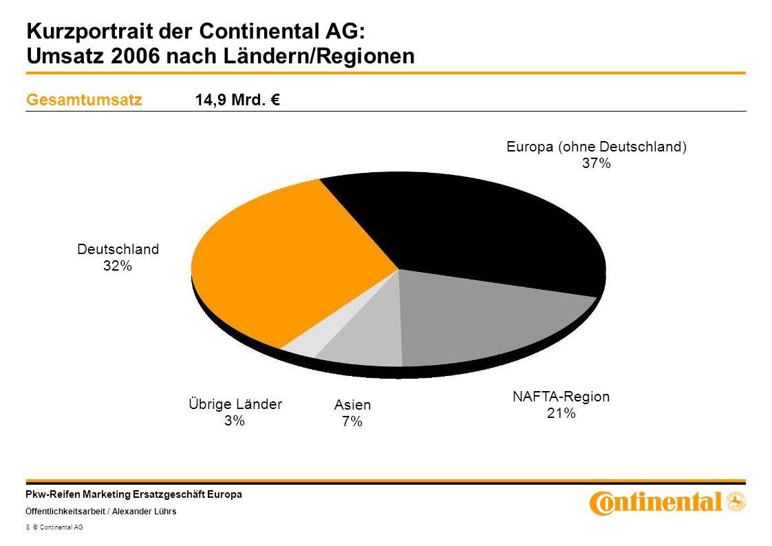 Kurzportrait der Continental AG: Umsatz 2006 nach Ländern/Regionen