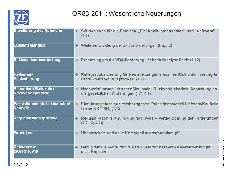 QR83-2011: Wesentliche Neuerungen