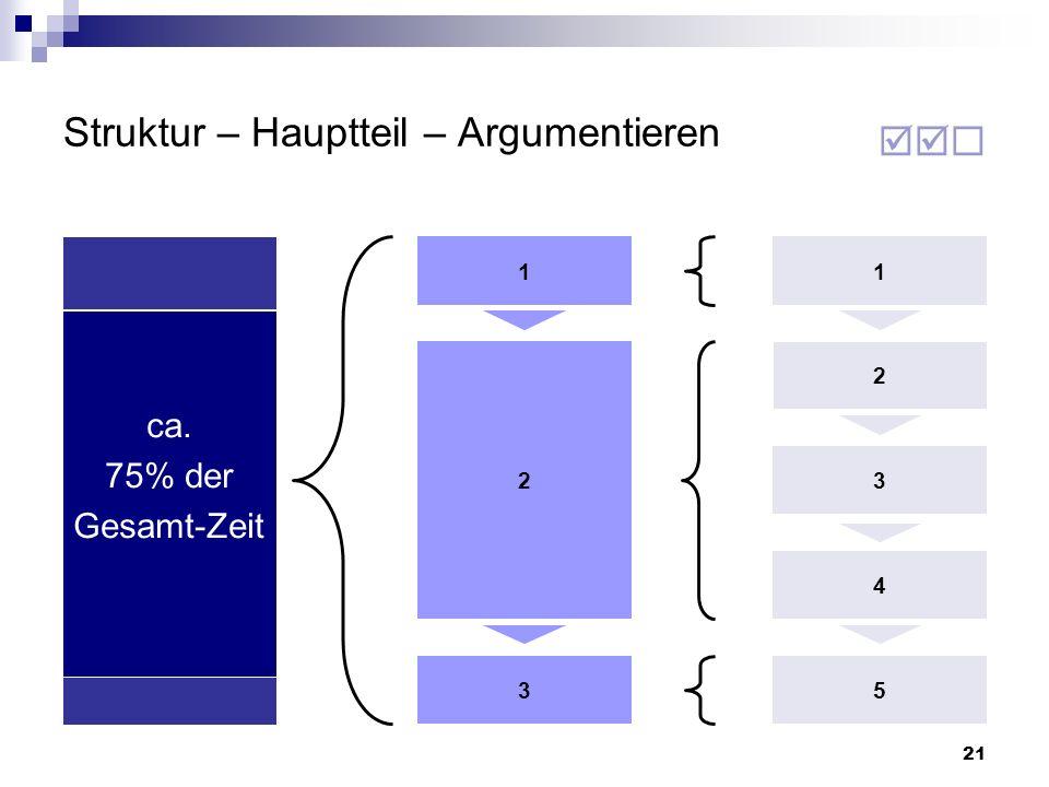 Struktur – Hauptteil – Argumentieren