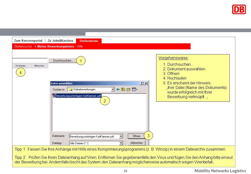 """Vorgehensweise:Durchsuchen... Dokument auswählen. Öffnen. Hochladen. Es erscheint der Hinweis: """"Ihre Datei {Name des Dokuments}"""