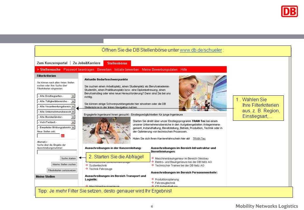 Öffnen Sie die DB Stellenbörse unter www.db.de/schueler :