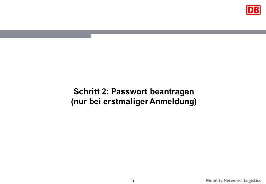 Schritt 2: Passwort beantragen (nur bei erstmaliger Anmeldung)