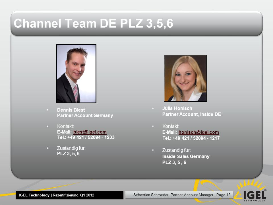 Channel Team DE PLZ 3,5,6 Julia Honisch Dennis Biest