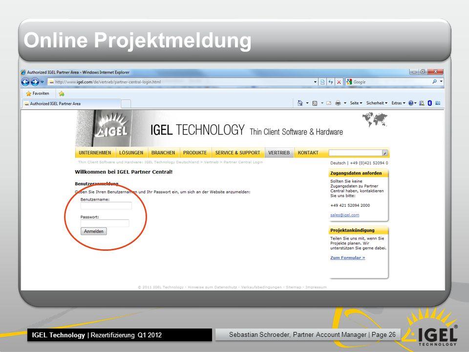 Online Projektmeldung