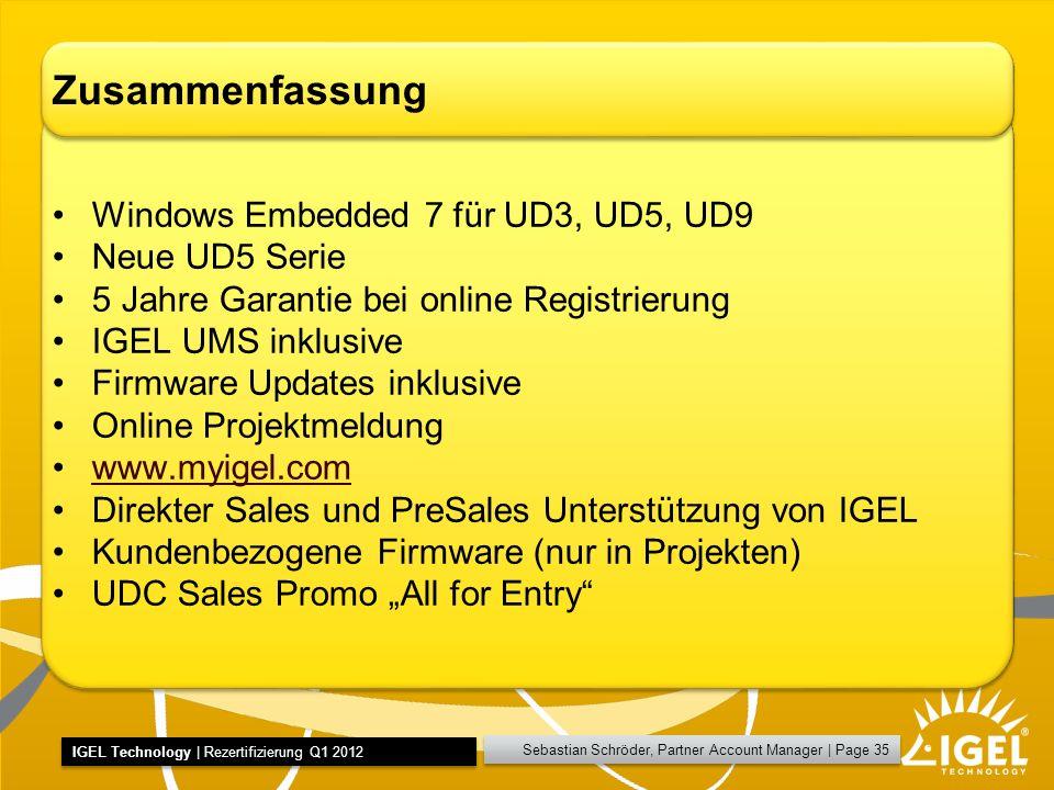 Zusammenfassung Windows Embedded 7 für UD3, UD5, UD9 Neue UD5 Serie